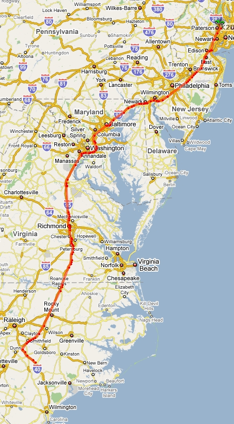 APRS track from Wilimington, NC to Northern NJ
